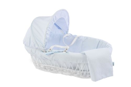 Wicker Moses Basket in White - Cotton Dream Blue